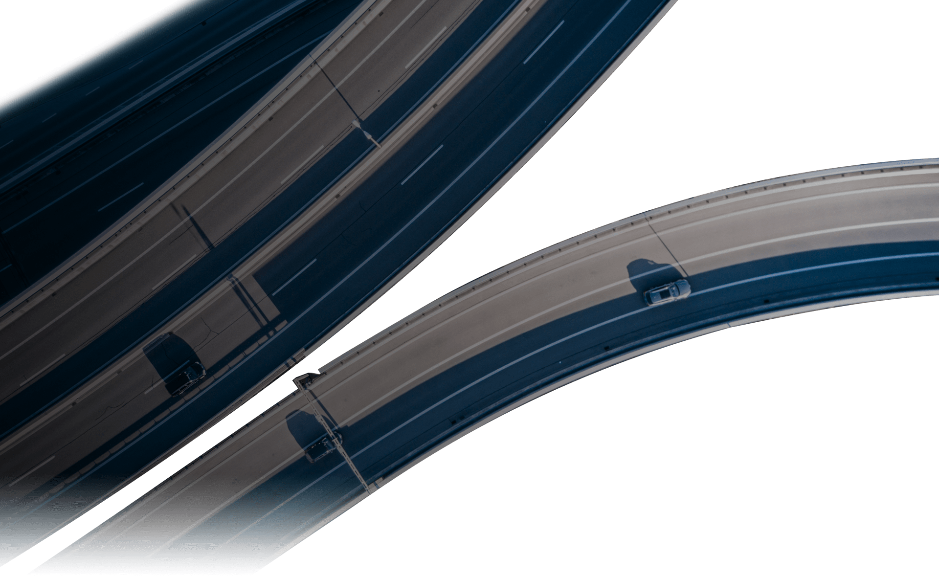 overhead view of vehicles on a highway junction